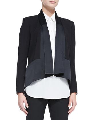 Long-Sleeve Drape-Front Cardi Jacket