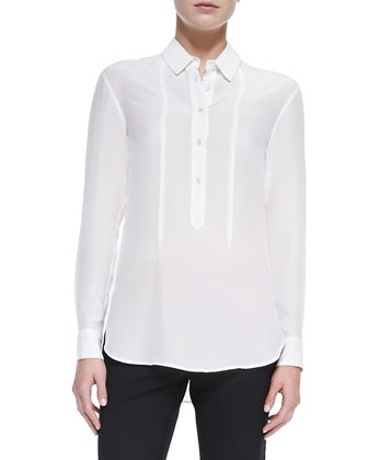 Silk Long-Sleeve Blouse, Ivory