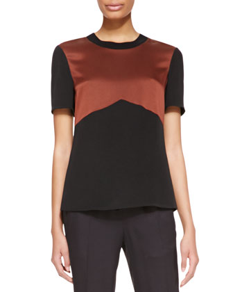 Short-Sleeve Rib-Trim Shirt, Mahogany/Black