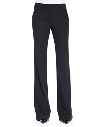 Stretch Wool Boot-Cut Pants, Black