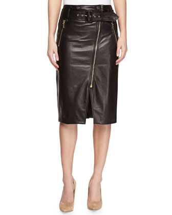 Moto Leather Pencil Skirt, Black