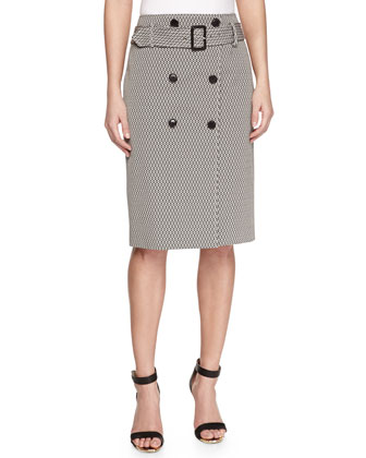 Button-Front Jacquard Pencil Skirt