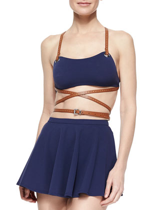 Strappy Belted Skirted Two-Piece Swimsuit