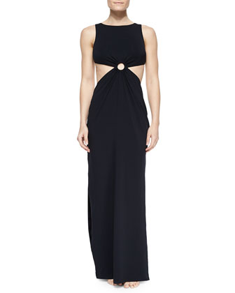 Cutout-Waist Jersey Maxi Dress