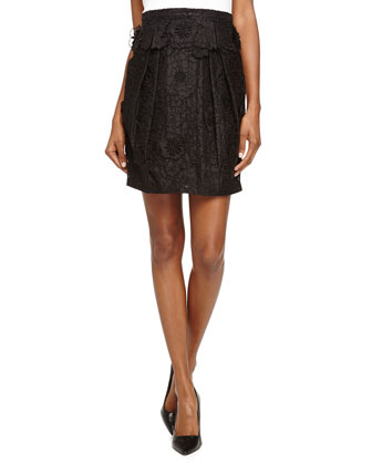 Floral Lace Pleated Skirt, Black