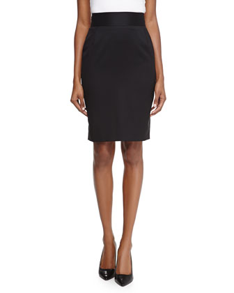 Wool Sateen Pencil Skirt, Black