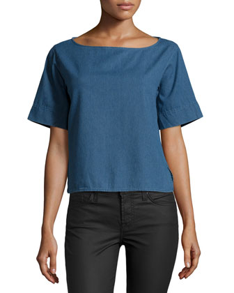 Short-Sleeve Chambray Top, Blue