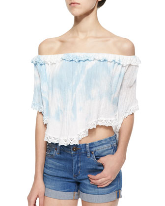 Tie-Dye Lace-Trim Voile Top, White/Sky Blue