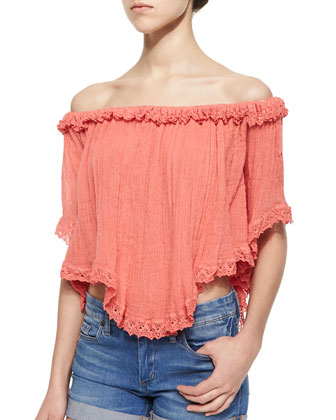 Tie-Dye Lace-Trim Voile Top, Poppy