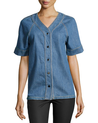 Short-Sleeve Button-Front Denim Shirt