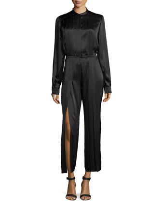 Accordion-Pleat Silk Jumpsuit, Black