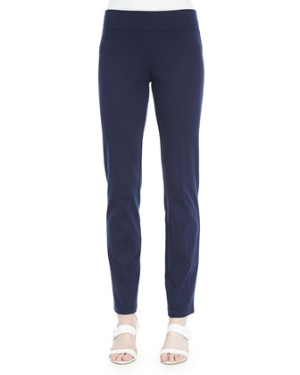 Straight-Leg Slim Pants, Navy