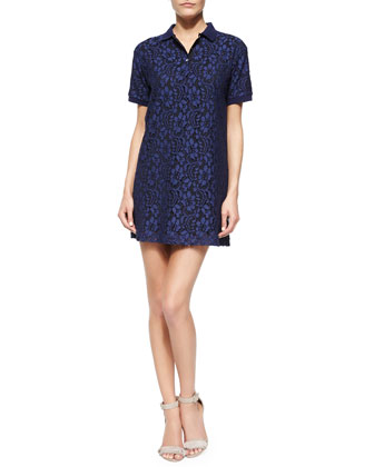 Short-Sleeve Lace Polo Dress