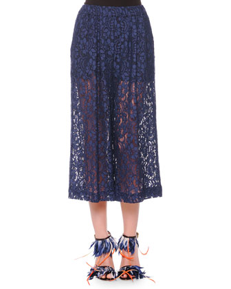 Mixed-Print Silk Crop Top & Cropped Wide-Leg Lace Pants