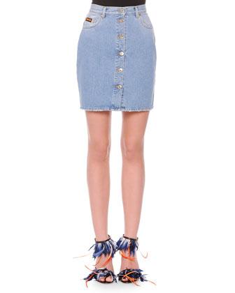Button-Front Denim Miniskirt
