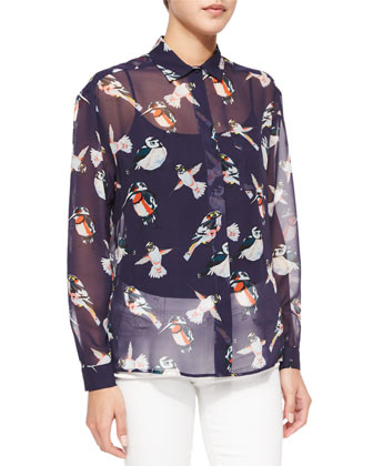 Sheer Bird-Print Silk Blouse