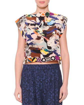 Mixed-Print Silk Crop Top