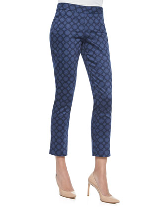 Corynna Skinny Pendant Ankle Pants, Navy
