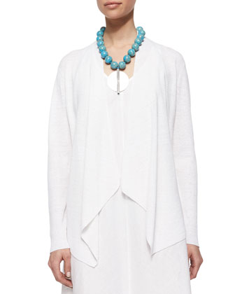 Organic-Linen Angled-Front Cardigan, Petite