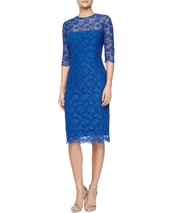 3/4-Sleeve Lace Sheath Dress, Royal Blue