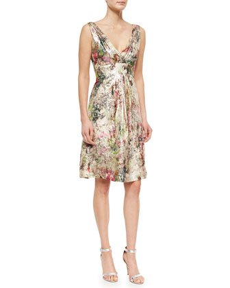 Sleeveless Metallic Jacquard Party Dress