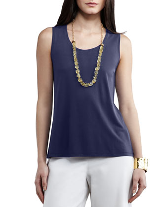 Silk-Jersey Tank Top, Midnight