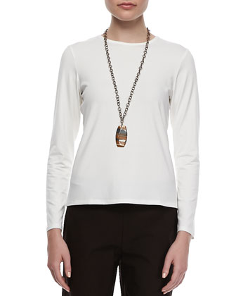 Long-Sleeve Jersey Tee, White, Petite