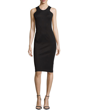 Bandage Dress with Racer-Front Top, Black