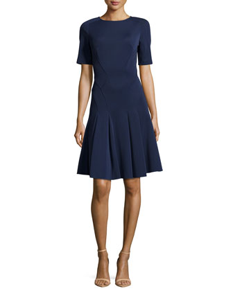 Fit-and-Flare Dress, Navy
