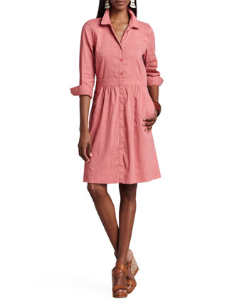 3/4-Sleeve Linen-Blend Shirtdress, Petite