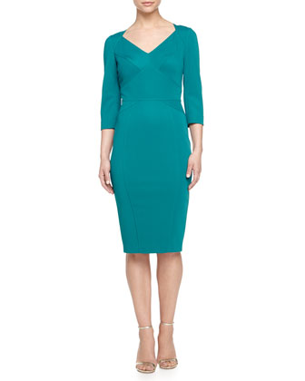 3/4-Sleeve Bandage Dress, Round Robin