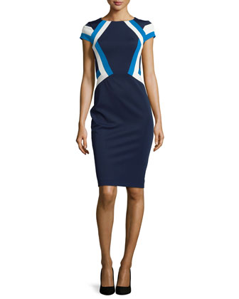 Colorblock Geo-Stripe Dress, Navy