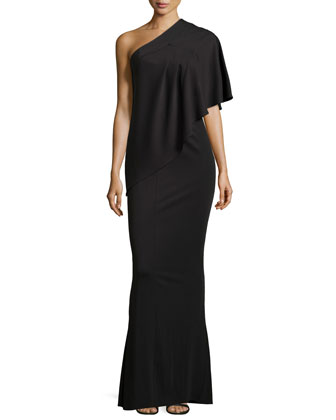 One Shoulder Jersey Gown, Black