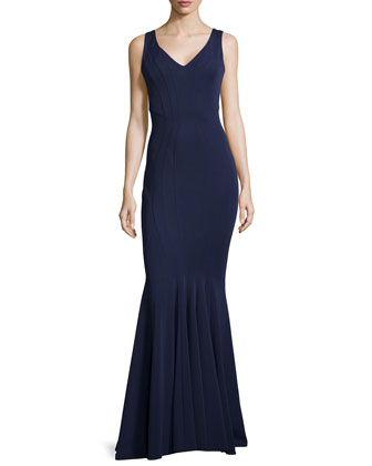 Fitted V-Neck Gown, Navy