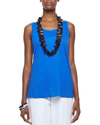 Linen Jersey Scoop-Neck Top, Women's