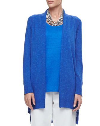 Linen-Cotton Slub Cardigan, Jersey Scoop-Neck Top & Slim Ankle Pants, Petite