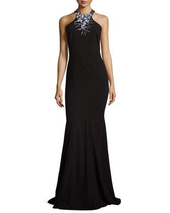 Embellished Halter Gown, Black
