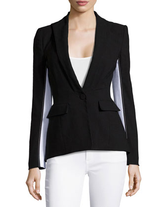 Colorblock Knit Blazer, Black/White
