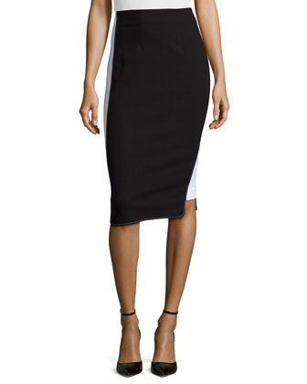 Colorblock Pencil Skirt, Black/White