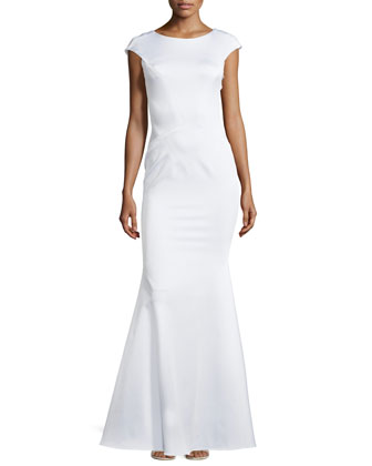 Fitted Seamed Gown, White