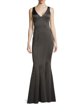 Fitted V-Neck Satin Gown, Black