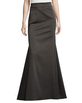 Floor-Length Trumpet Skirt, Concrete