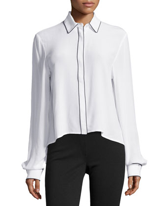 Piped Button-Down Blouse, White/Black