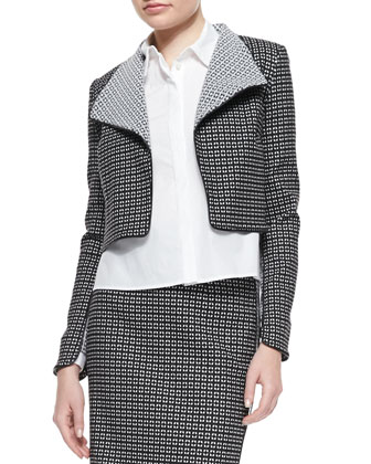 Patterned Cropped Jacket with Piped Trim