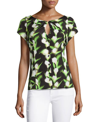 Short-Sleeve Printed Keyhole Blouse, Multi Color