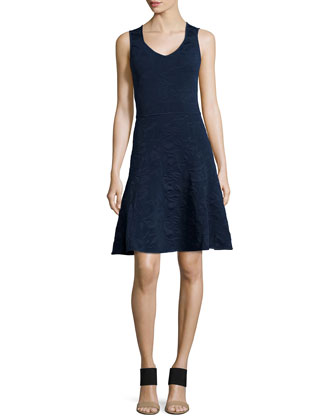 Knit Fit & Flare Dress, Navy