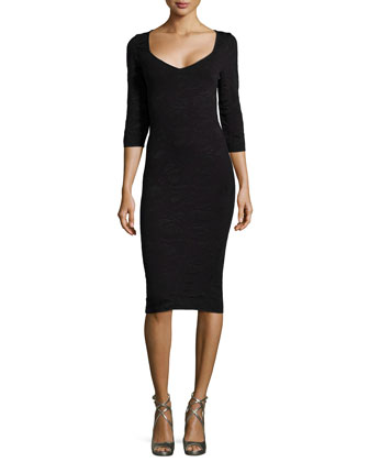 Bodycon Fitted Dress, Black