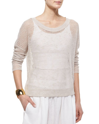 Long-Sleeve Organic Open-Stitch Knit Top, Organic Cotton Slim Tank & Oval ...