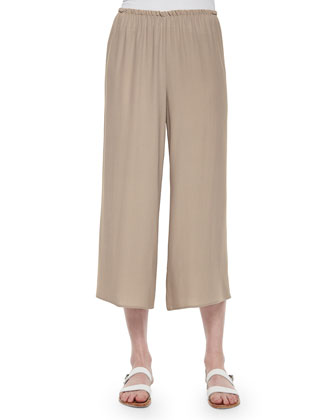 Wide-Leg Georgette Cropped Pants, Mocha