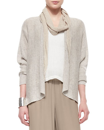 Rustic Speckled Open Cardigan, Natural
